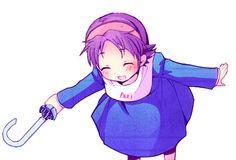 """A transparent Yuka-chi here to bring you an umbrella (*•̀ᴗ•́*)و ̑̑ "" corpse party blood covered"