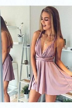 Buy A-Line Deep V-Neck Backless Short Blush Pleats Open Back Convertible Homecoming Dress in uk. Rock one of the season's hottest looks in a burgundy homecoming dress or choose a timeless classic little black dress. Bridesmaid Dresses Under 100, Mini Prom Dresses, Semi Dresses, Dresses Short, Hoco Dresses, Simple Dresses, Cute Dresses, Evening Dresses, Simple Homecoming Dresses