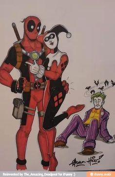 Deadpool, Harley Quinn, The Joker