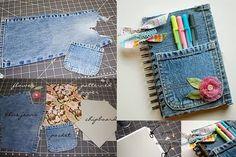 Veja e Faça Caderno Encapado com Jeans   Artesanato na Prática