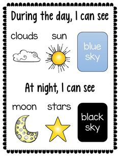 This FREE 2 page sorting activity challenges young students to determine which objects they might see in the day or night sky. The simple printables can be used in a variety of ways and challenge a variety of skills, such as fine motor skills (cutting and pasting) and the ability to classify objects.