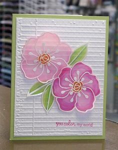 Vellum flowers card Hero Arts stamp