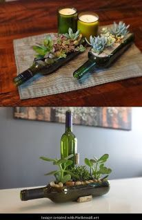 Making gardens out of wine bottles is a pretty idea. Perhaps spray paint the bottle in gold or silver first, (or a color that fits with your decor).  This idea can be adapted to accommodate memories. For example, if you had a bottle of champagne or wine for your anniversary: save it, cut it, (paint it), fill it with sand, and put a picture frame in the middle (the sand should keep it standing upright). -SvH