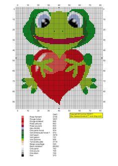 grenouille - frog - coeur - point de croix - cross stitch - Blog : http://broderiemimie44.canalblog.com/