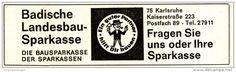 Original-Werbung/ Anzeige 1965 - BADISCHE LANDESBAU - SPARKASSE  - ca. 130 x 40 mm