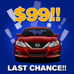 LAST CHANCE TO SAVE BIG! Get The all new 2016 Nissan Altima 2.5S now for ONLY $99 A MONTH LEASE + TAX - But only til Thursday! #WhatCanYouGetFor99 MORE INFO:  http://www.mossynissan.com/2016-nissan-altima.htm