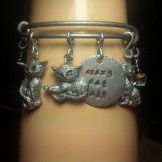 Crazy cat lady charm bracelet adjustable