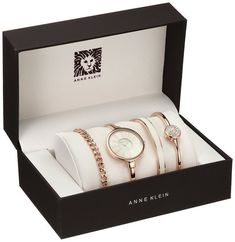 Anne Klein Women's Rose Gold-Tone Bangle Watch and Swarovski Crystal Bracelet Set Fancy Watches, Cute Watches, Elegant Watches, Beautiful Watches, Stylish Watches For Girls, Trendy Watches, Gold Watches Women, Rose Gold Watches, Accesorios Casual
