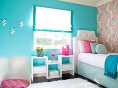 Blue and pink bedroom for a girl. #home #decor http://www.ivillage.com/girls-bedroom-decorating-ideas/6-b-494132#522837