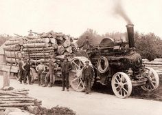 Forestry Memories Image Library = Traction engine and workers