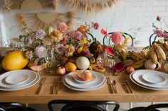 Tropical summer party vibes at Office Party in LA Office Parties, Summer Parties, Wedding Hire, Wedding Table, I Party, Party Ideas, Wall Fans, Wall Installation, Floral Centerpieces