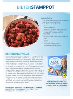 Bietenstamppot - Lidl Nederland Good Healthy Recipes, Skinny Recipes, Healthy Choices, Dog Food Recipes, Cooking Recipes, Bolognaise Recipe, Weith Watchers, Wraps, Dutch Recipes