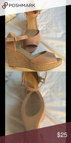 Beige wedge woman's size 8 1/2 Never worn...too small for me. Great wedge with 3 in heel 1 in wedge.  Beautiful neutral color. Smoke free home Trotters Shoes Wedges