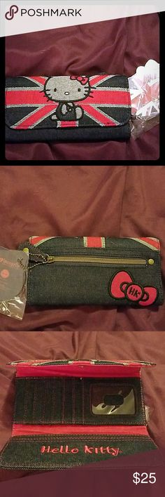 Hello Kitty denim Great Britain wallet I bought this and never used it. Hello Kitty Bags Wallets