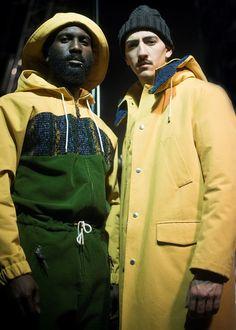 Yellow macs and fisherman hats backstage at Umit Benan AW15 PFW. See more here: http://www.dazeddigital.com/fashion/article/23399/1/umit-benan-aw15