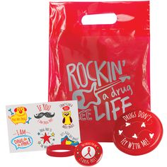 Red Ribbon Bag Kit: mini flyer, silicone bracelet, red ribbon pin, and six temporary tattoos Red Ribbon Week, Silicone Bracelets, Temporary Tattoos, Kit, Bags, Handbags, Totes, Hand Bags, Purses