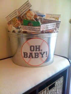 """Love the """"Oh Baby"""" bucket for the favors"""
