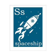 S is for Spaceship 8x10 inch print from Finny and Zook
