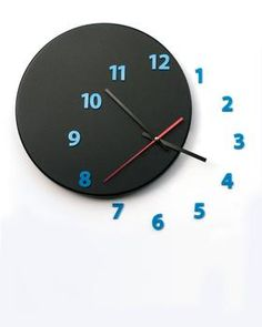 wall clock OUT OF TIME black_blue - light4dark