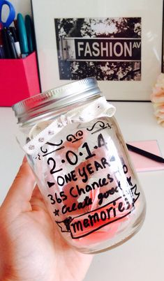 This is what I'm doing for 2015.. Every good memory I make I write n put in the jar and for every bad day I put a 1$.. N at the end of the year I'll see how many good n bad days I had!