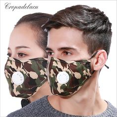 5f3edddb631a Men Women Camouflage design PM2.5 Cotton Mask Breath valve anti-dust mouth  mask
