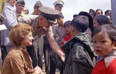 Remembering Betty Ford. April 8, 1918 - July 8, 2011. First Lady Betty Ford greets newly-arrived Vietnamese children at the Camp Pendleton Refugee Camp in California. May 21, 1975.  -from the Ford Presidential Library and Museum