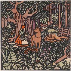"""""""Rotkäppchen"""", 1906, Papierschnittdruck aus der Reihe: 8 Darstellungen zu einem Märchenbuch, handkoloriert, handsigniert Zülow, Stockgröße 25 x 24 c"""