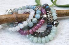 Raw Ruby and Diamond Bracelet / Boho Gemstone Stretch Bracelet / Luxe Beadwork Bracelet / Stacking Bracelet