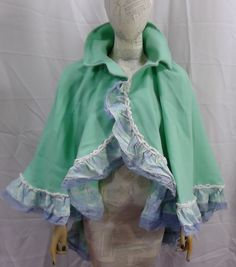 Cape Austen Victorian Steampunk Civil mint green capelet wrap 5009 #Geechlark #Cape