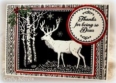 Striking Deer Silhouette Card by Darlene Pavlick using an image and sentiment from Crafty Secrets Deer Christmas Stamp Set.