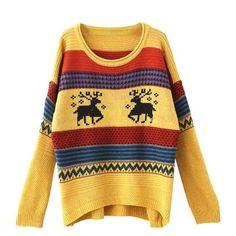 Autumn Winter Female Elk Deer Print Christmas Sweater Women Casual Loose Long Sleeve Knitted Pullover Jumper Tops