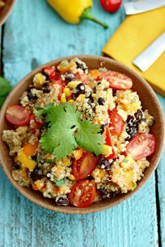 Quinoa and Sweet Potato Detox Salad: quinoa, sweet potatos, corn, black beans, sweet peppers.