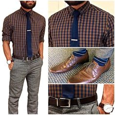 """Today's fit - brown town Brown and grey in classics today. Not often that I wear my tweed pants, today felt right. Keeping It light in a light plaid shirt and my """"never can go wrong"""" knit navy tie. Balancing it all in brown and blue details throughout."""