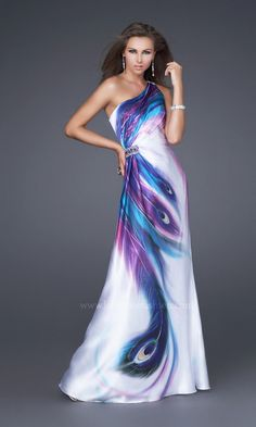 One Shoulder Peacock Print Satin Dress