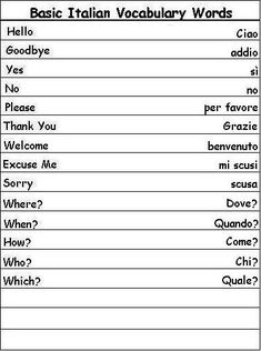 italian word lists   Italian Vocabulary Words Learn Italian Info