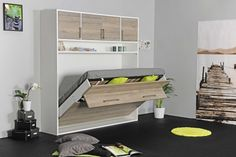 Armoire lit escamotable transversal pour les pièces avec des petites largeurs