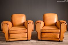French Club Chairs by William's Antiks | WA26-33 Rambouillet Rollback Pair of Leather French Club Chairs | 1