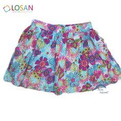 Falda de niña juvenil LOSAN viscosa estampada