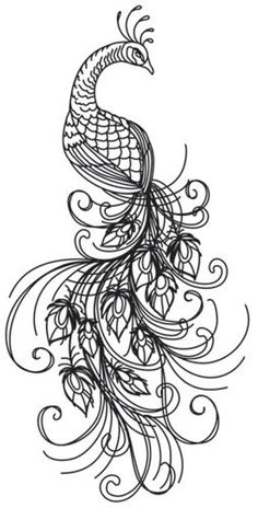 Abstract Tattoo Designs, Tattoo Design Drawings, Embroidery Leaf, Embroidery Patterns, Paper Embroidery, Flower Tat, Black Bird Tattoo, Peacock Tattoo, Bird Sketch