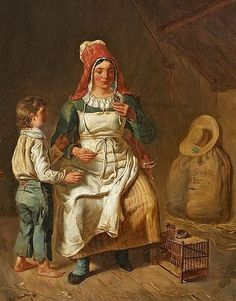 1800s Anne-Geneviève Greuze (1762-1842) Mother and son with bird