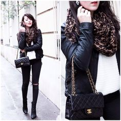 Chanel Bag, Etam Sweater, Topshop Jeans, Acne Studios Boots