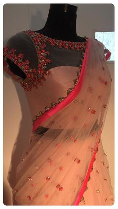 Peach and pink net Saree and blouse