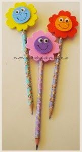 Great ideas using foam sheets for pencil toppers, with patterns Fun Crafts For Kids, Summer Crafts, Art For Kids, Diy And Crafts, Foam Sheet Crafts, Foam Crafts, Paper Crafts, Pencil Topper Crafts, Pencil Crafts