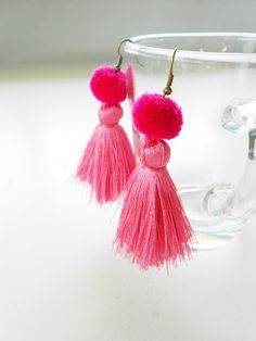 Pretty Fluff Cotton Tassel Silky Earrings with Pom Poms Handmade