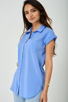 Longline Shirt in Pastel Blue Shirt Blouses, Shirts, Pastel Blue, Long A Line, Hemline, Model, How To Wear, Tops, Products