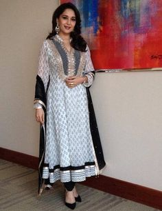 Madhuri Dixit in Black and White V Neck Anarkali Salwar Kameez of Anita Dongre
