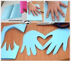Cute fun way to make a card - hand print heart!