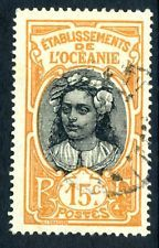French 1913 Polynesia Woman 15¢  VFU (Z144)