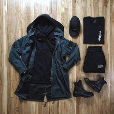 @stoneisland_official jacket @off____white hoody and sweats @en_noir x @karmaloop shirt @rickowensonline boots @dennistodisco / @outfitgrid