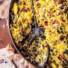 Rice Jeweled Rice recipe: This is as delicious as it is gorgeous.Jeweled Rice recipe: This is as delicious as it is gorgeous. Rice Recipes, Indian Food Recipes, Cooking Recipes, Ethnic Recipes, Arabic Recipes, Almond Recipes, Dessert Recipes, Frijoles, Risotto